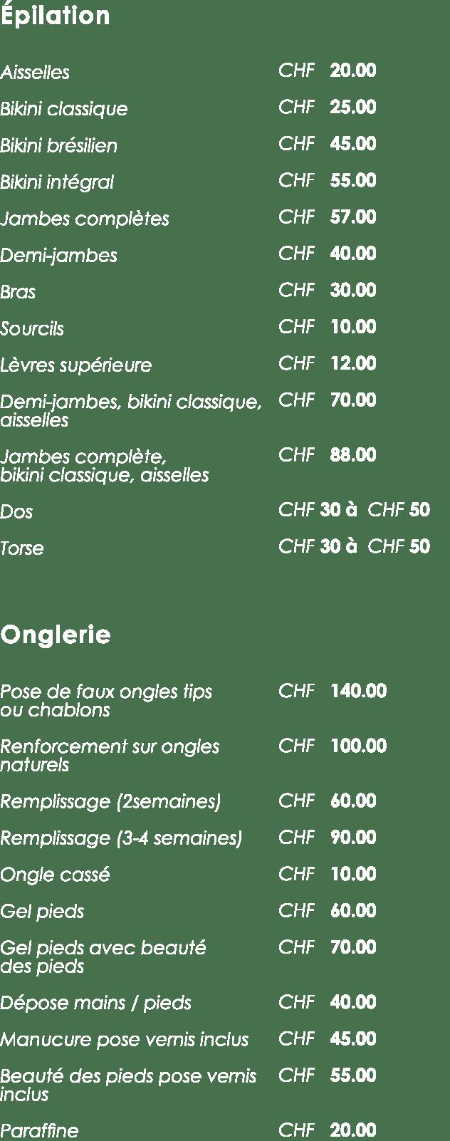 Coiffure tarifs